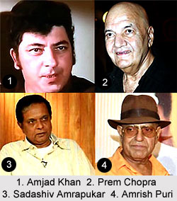 Indian Movie Villains - Amjad Khan Prem Chopra Sadashiv Amrapukar Amrish Puri