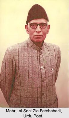 Mehr Lal Soni Zia Fatehabadi, Urdu Poet