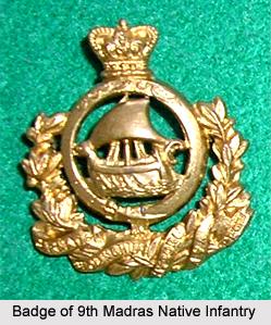 9th Madras Native Infantry, Madras Army