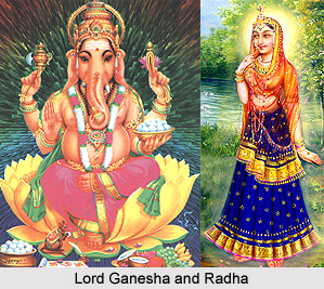 Worship of Lord Ganesha by Radha