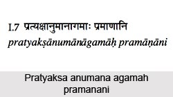 Pratyaksa anumana agamah pramanani, Patanjali Yoga Sutra