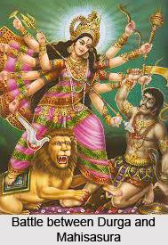 Battle between Durga and Mahisasura